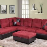 Red Faux Leather Or Microfiber Living Room Set