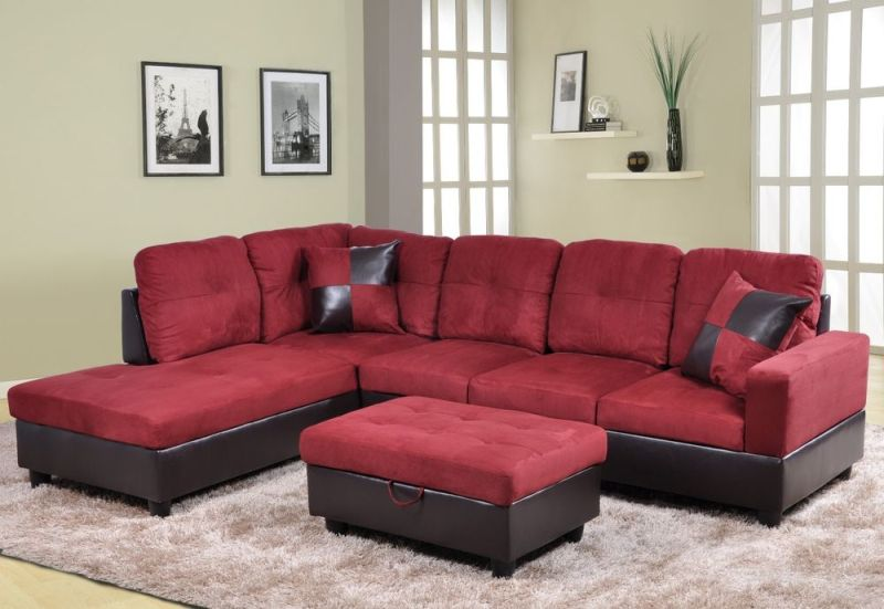 Image of: Red Faux Leather Or Microfiber Living Room Set