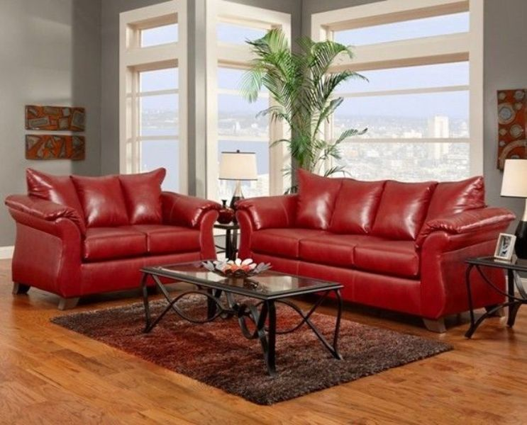 Image of: Red Leather Living Room Furniture Set
