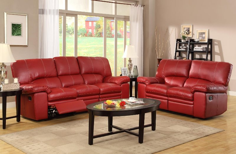 Image of: Red Leather Living Room Set