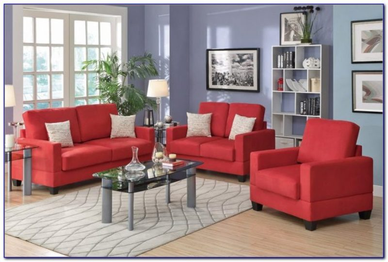 Red Microfiber Living Room Set